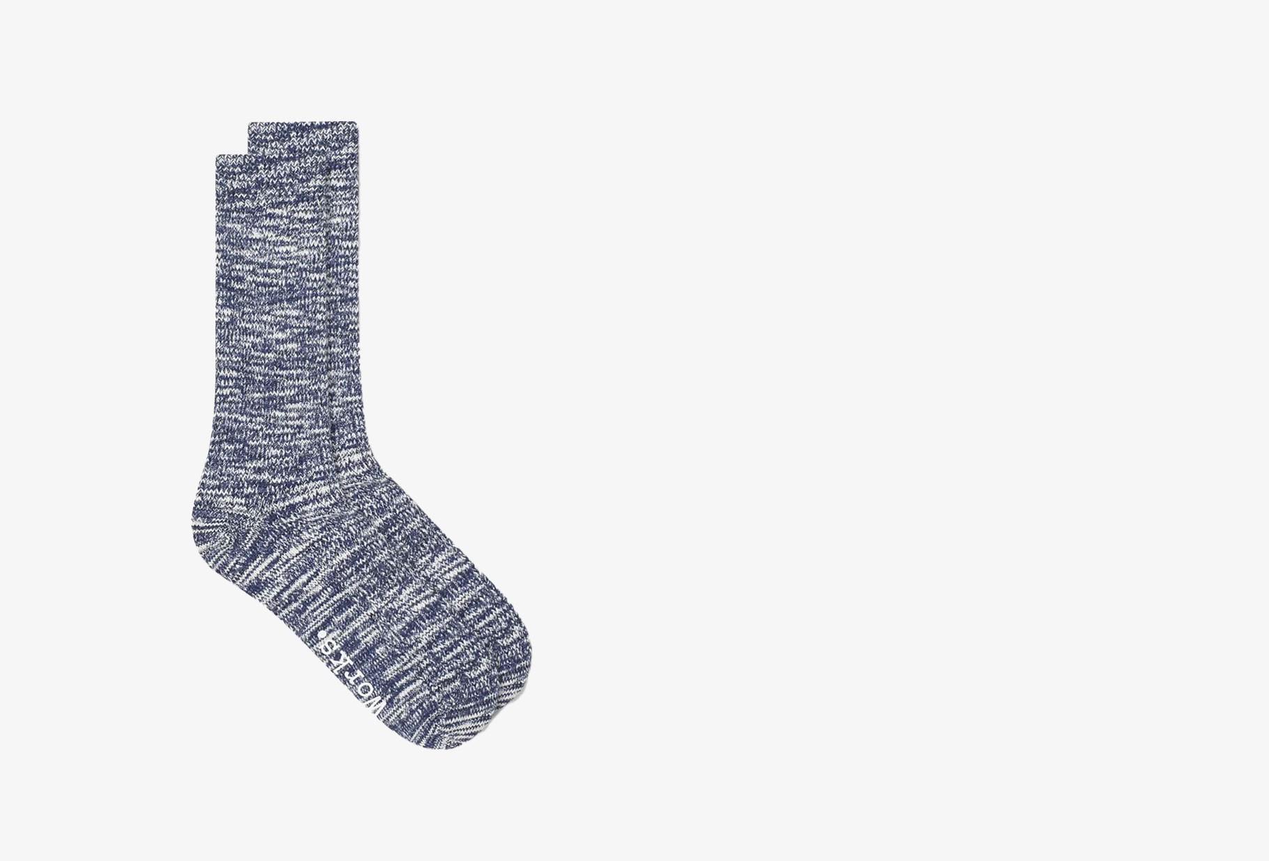 UNIVERSAL WORKS / Slub sock Navy