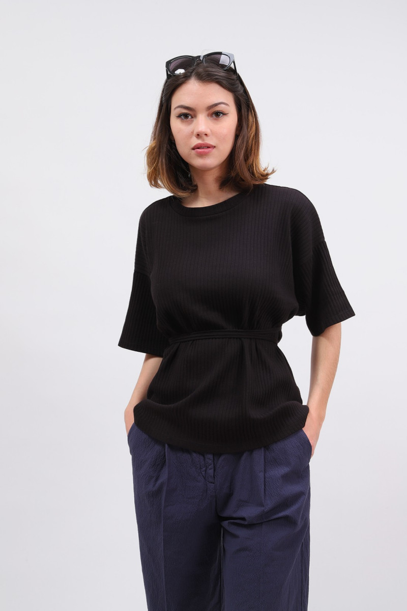 Shaw tee - fleece rib Black