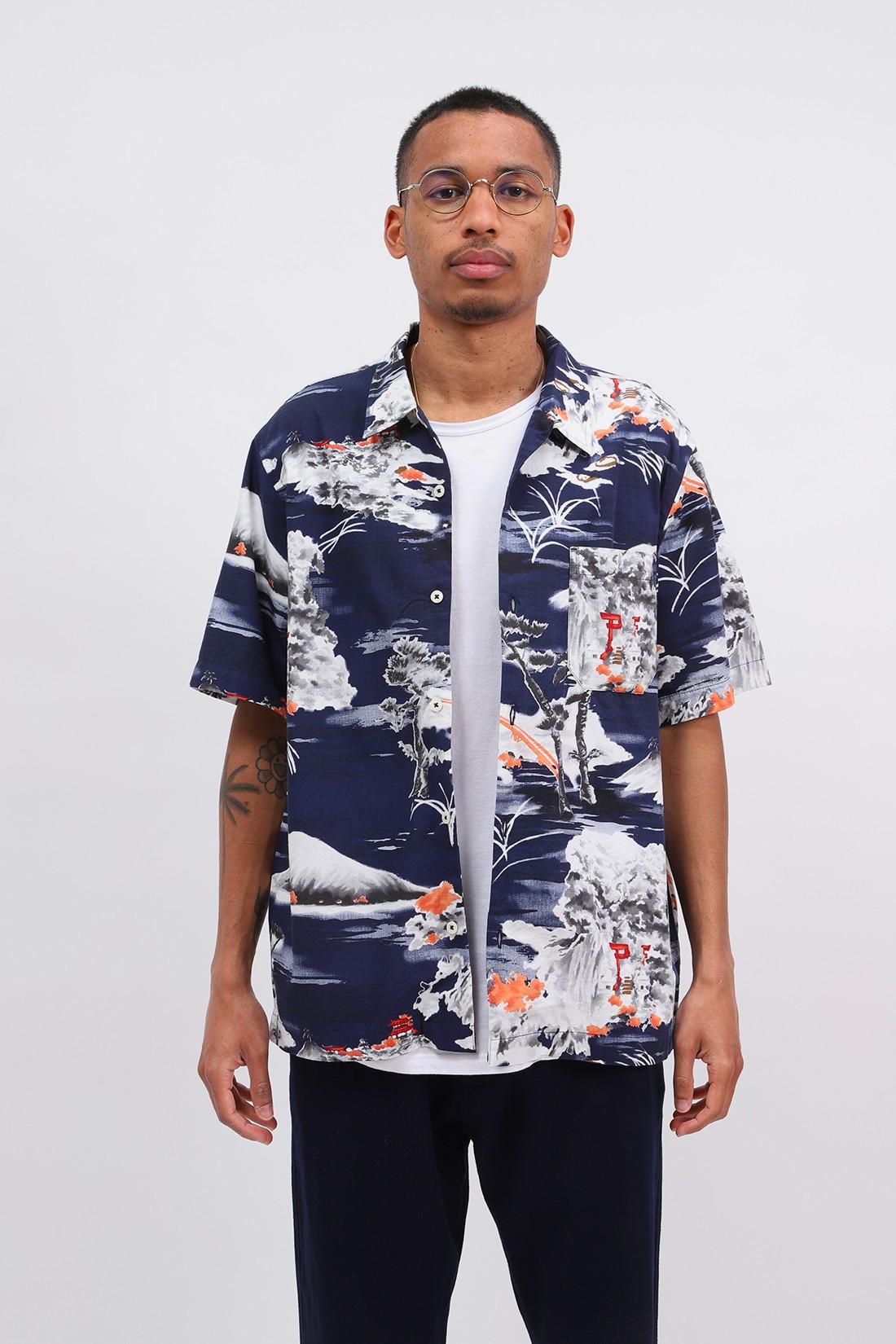 UNIVERSAL WORKS / Road shirt fuji summer print Navy