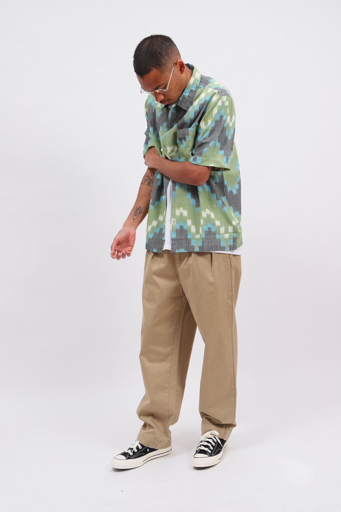 UNIVERSAL WORKS / Road shirt zigzag handloom Green