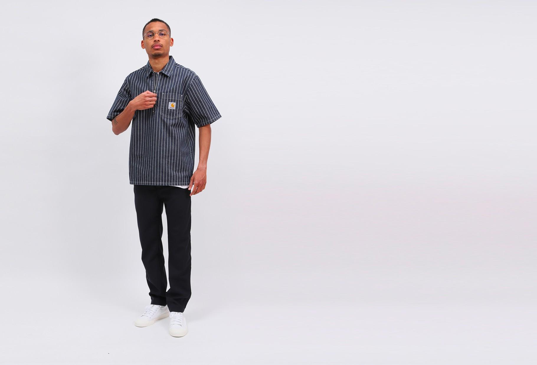 CARHARTT WIP / S/s trade shirt cotton stripe Dark navy/wax rinsed