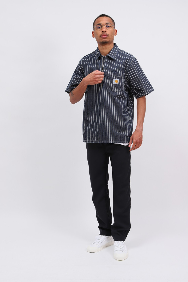 S/s trade shirt cotton stripe Dark navy/wax rinsed
