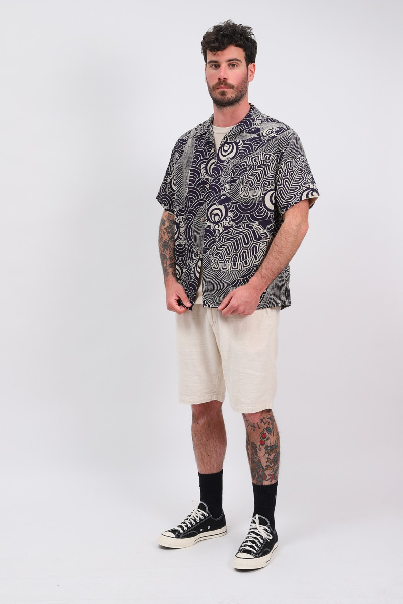 Turtle print hawaiian shirt Navy