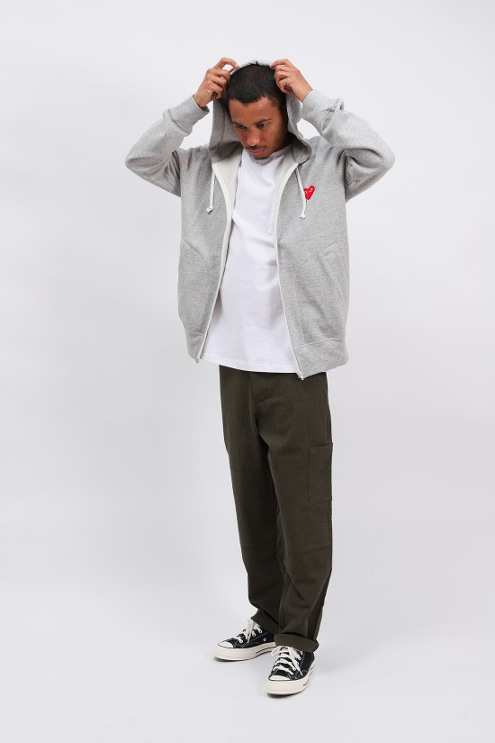 COMME DES GARÇONS PLAY / Play hooded zipped sweatshirt Grey