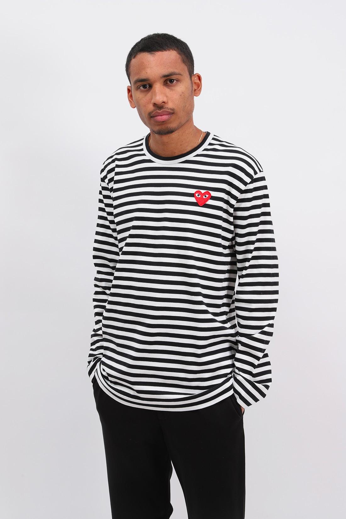 COMME DES GARÇONS PLAY / Play striped t-shirt Black white
