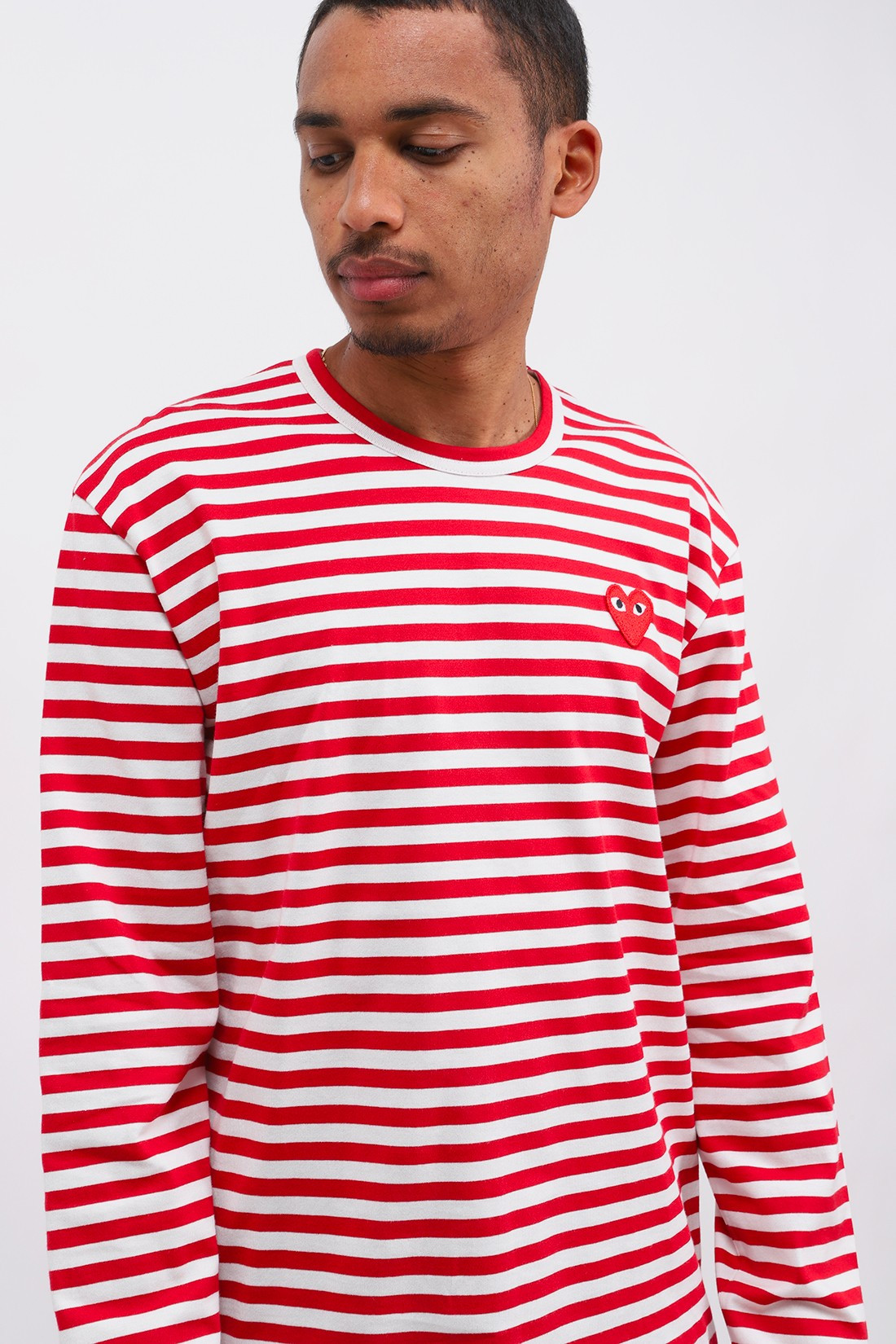 COMME DES GARÇONS PLAY / Play striped t-shirt Red white