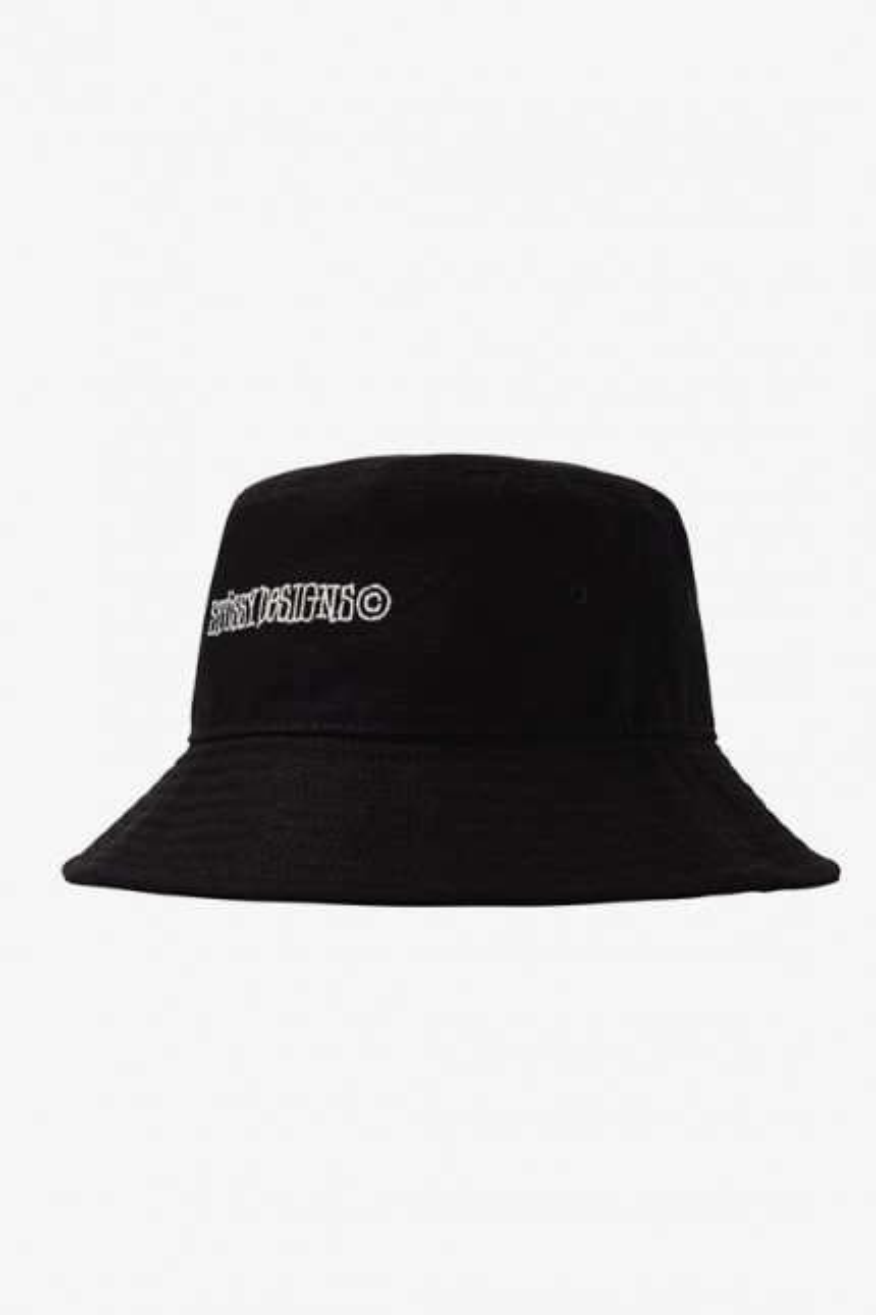 Canvas wide brim bucket hat Black