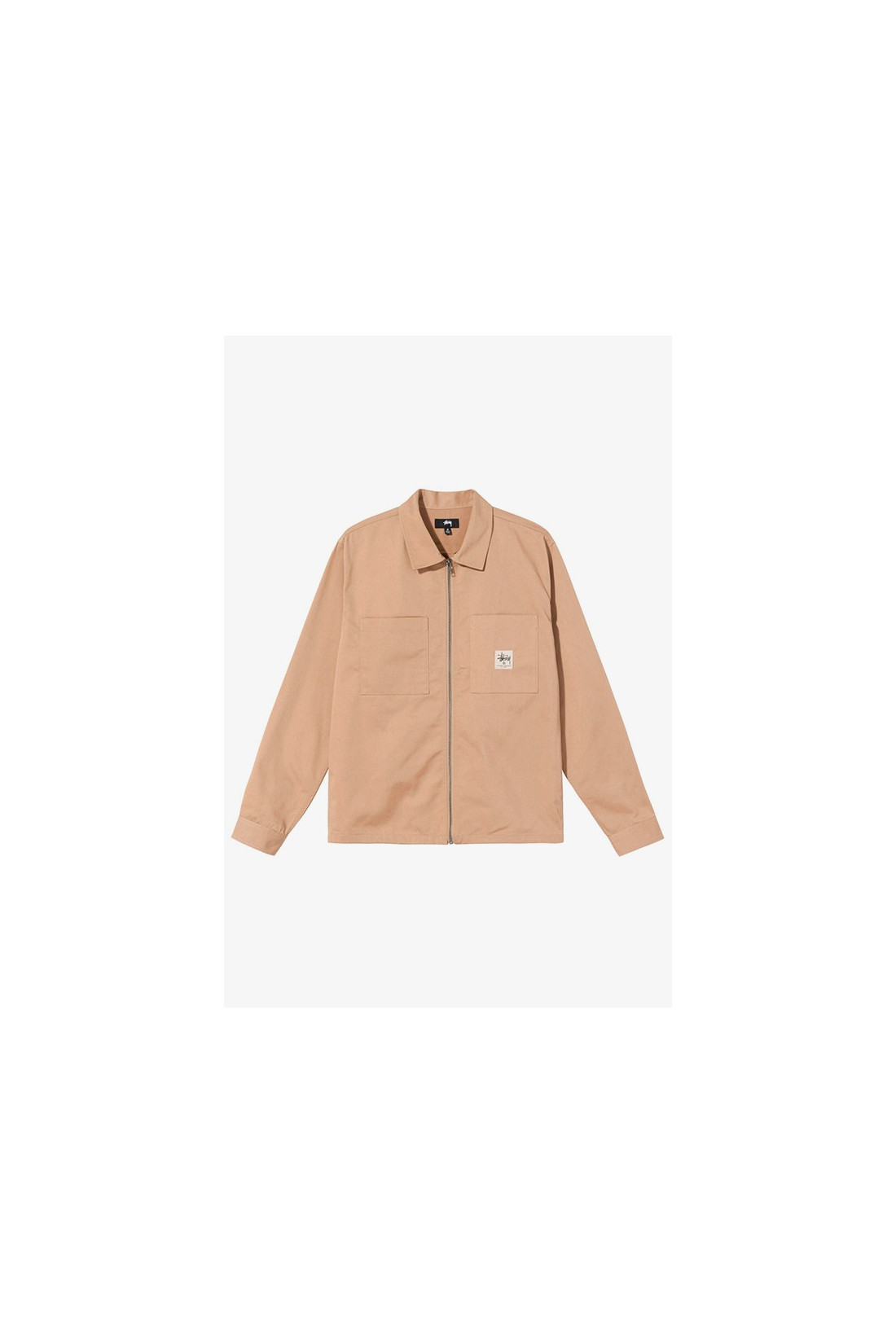 STUSSY / Zip up work ls shirt Camel