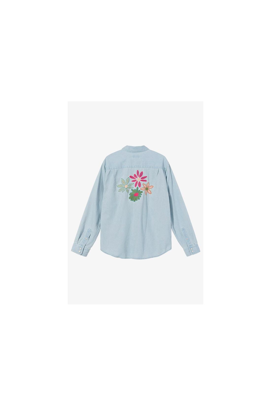 STUSSY / Flower emb. denim ls shirt Light blue