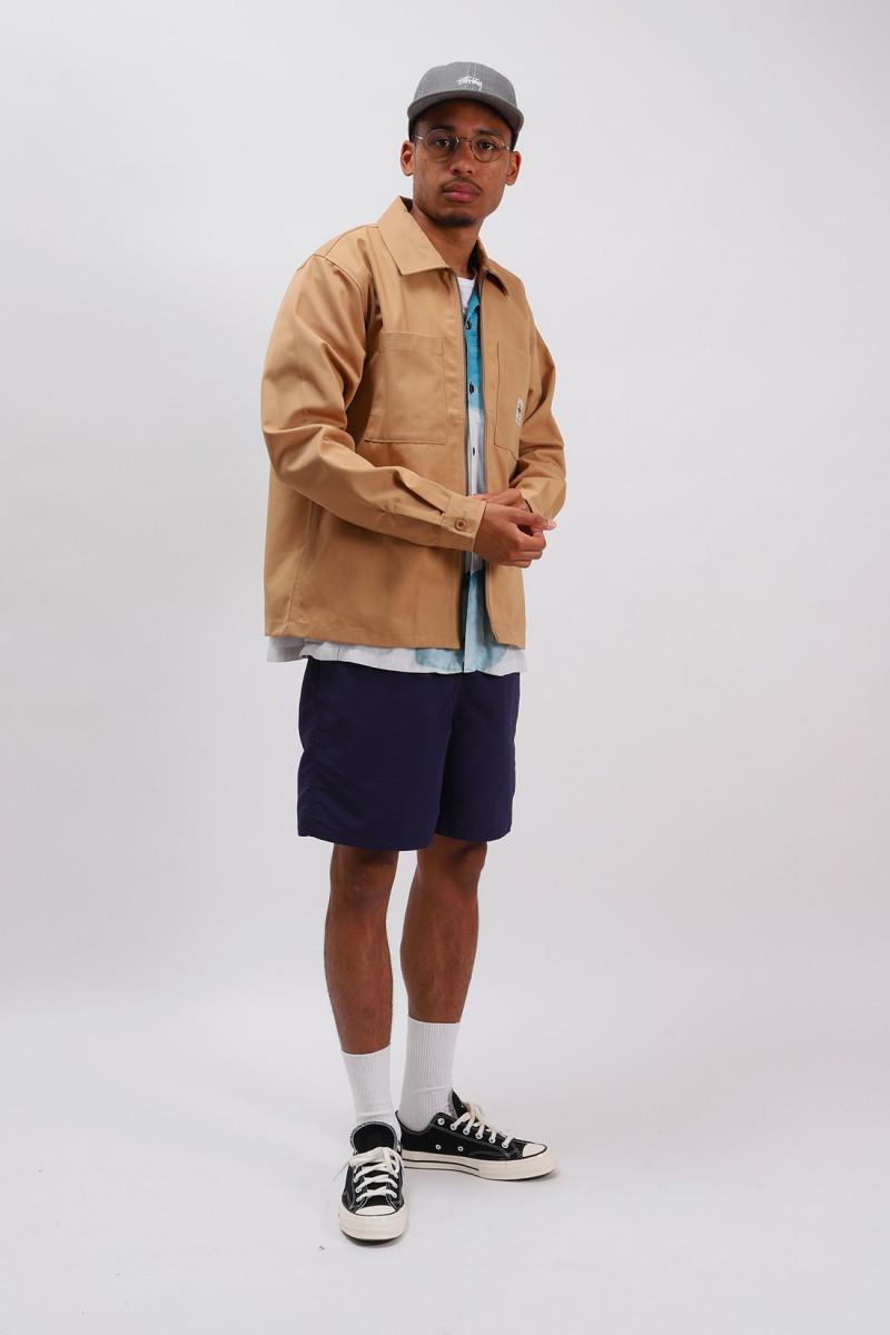 Zip up work ls shirt Camel