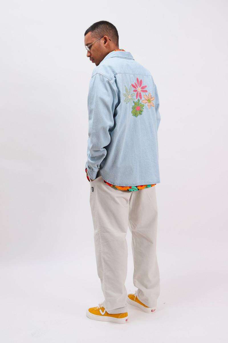 Flower emb. denim ls shirt Light blue
