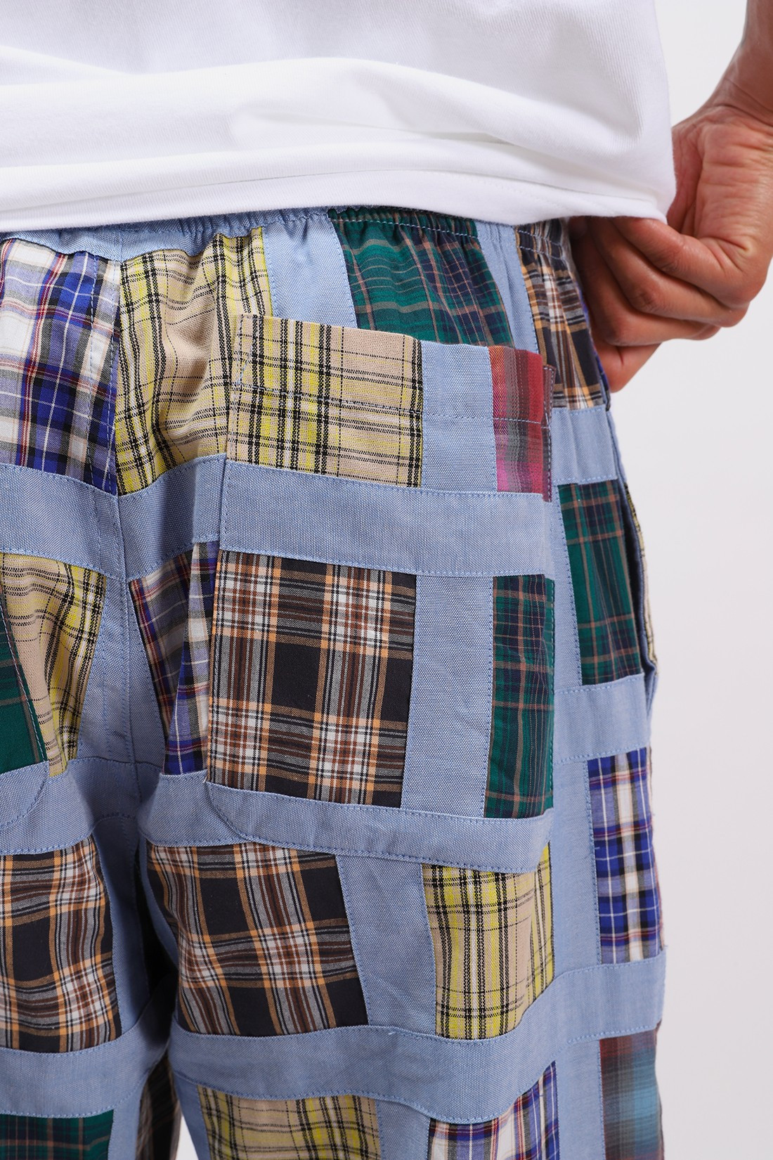 STUSSY / Madras patchwork relaxed pant Plaid