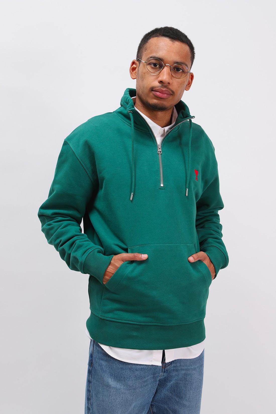 AMI / Sweatshirt zippe ami de coeur Vert