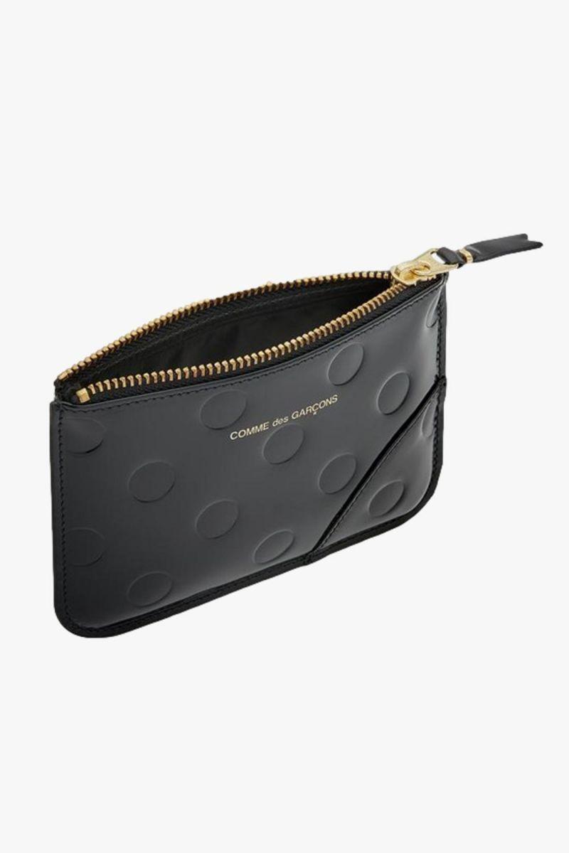Cdg leather wallet polka dots Black