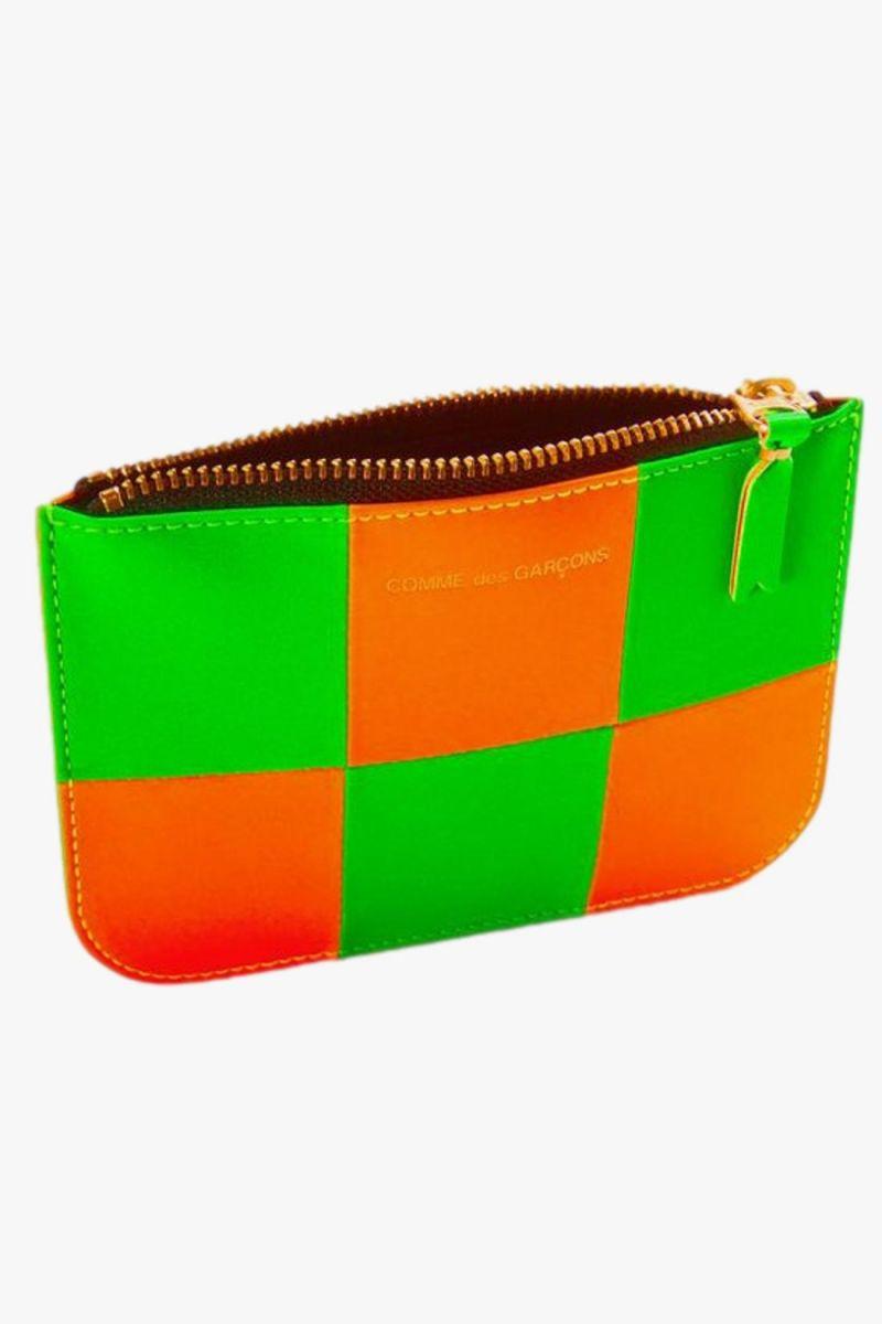 Cdg wallet fluo squares Orange green