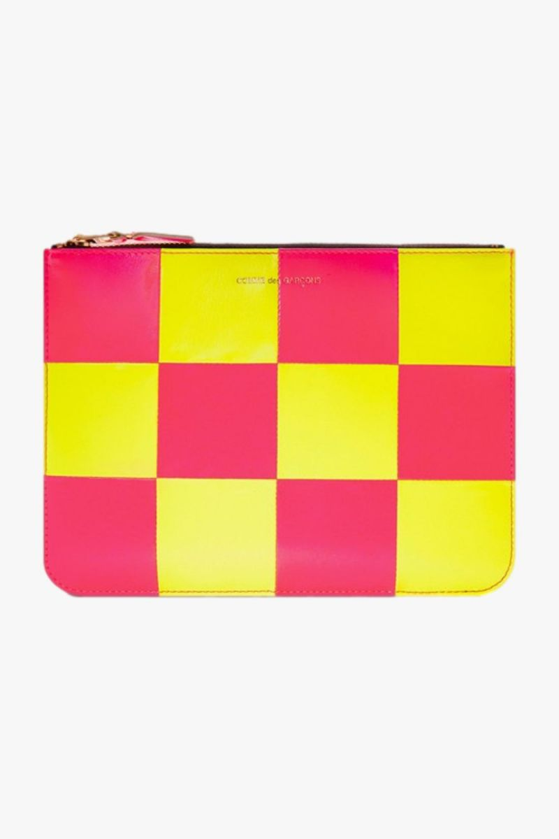 Cdg wallet fluo squares Yellow pink