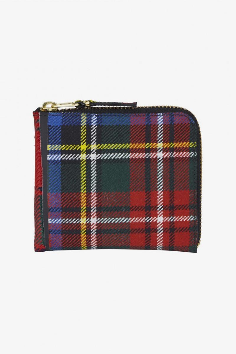 Cdg wallet tartan patchwork Red