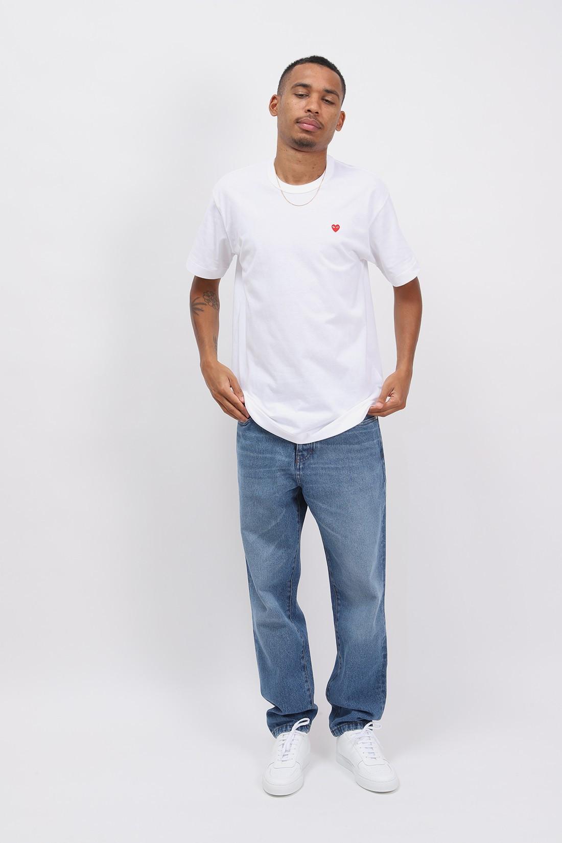COMME DES GARÇONS PLAY / Red play little heart t-shirt White