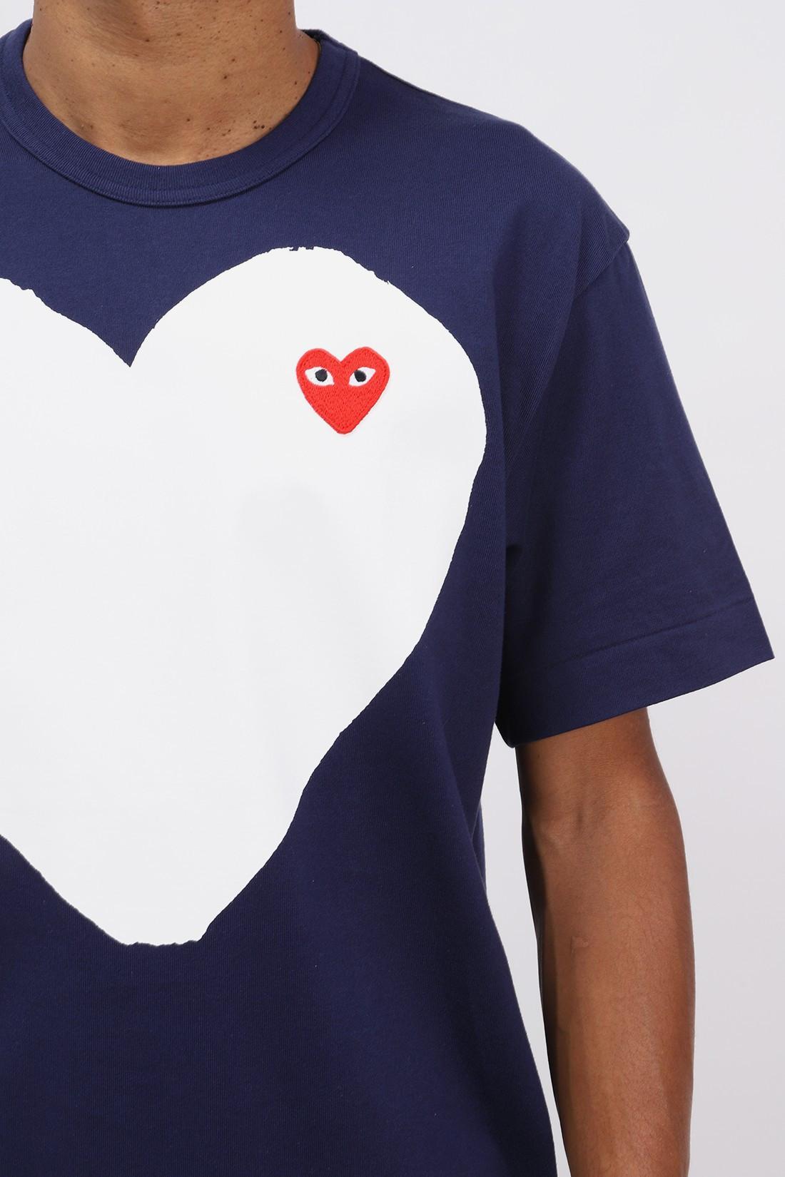 COMME DES GARÇONS PLAY / Red play white heart t-shirt Navy