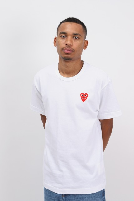 Double red heart t-shirt White