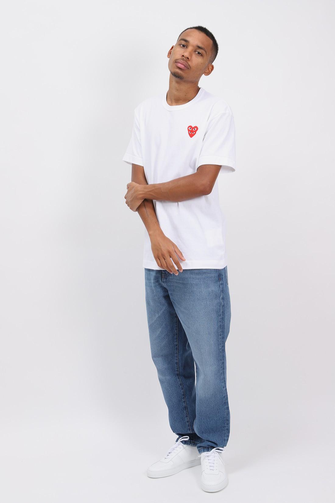 COMME DES GARÇONS PLAY / Double red heart t-shirt White