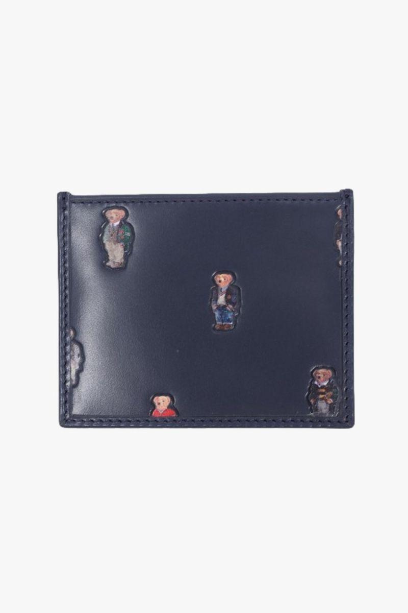 Polo bear card case leather Navy