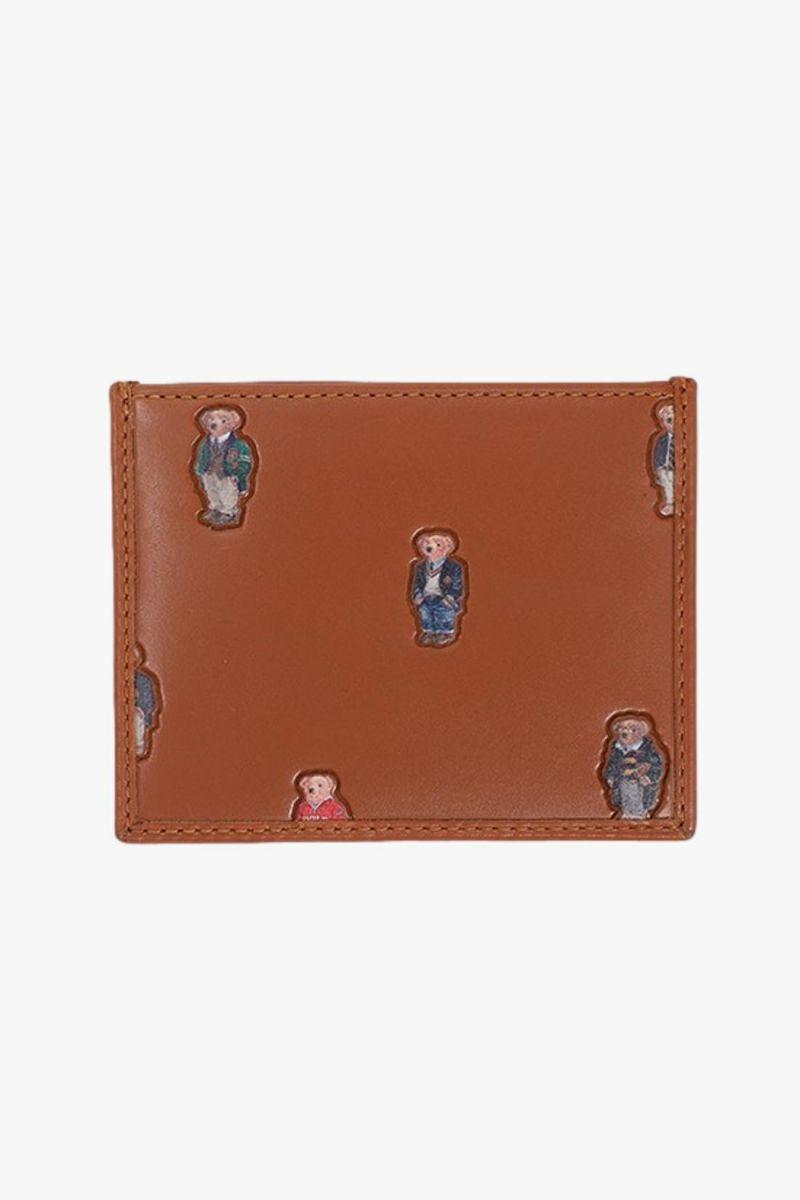 Polo bear card case leather Tan