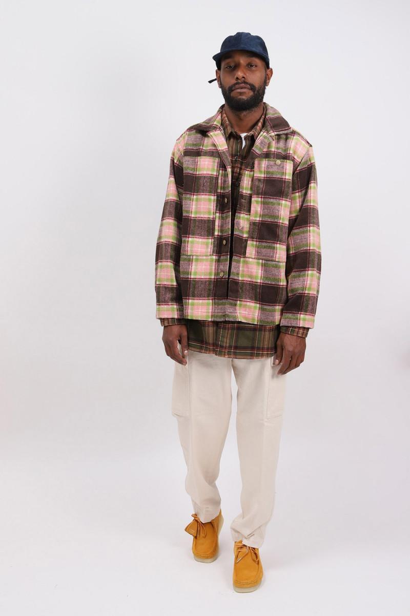 Fatigue shirt poly wool plaid Brown pink