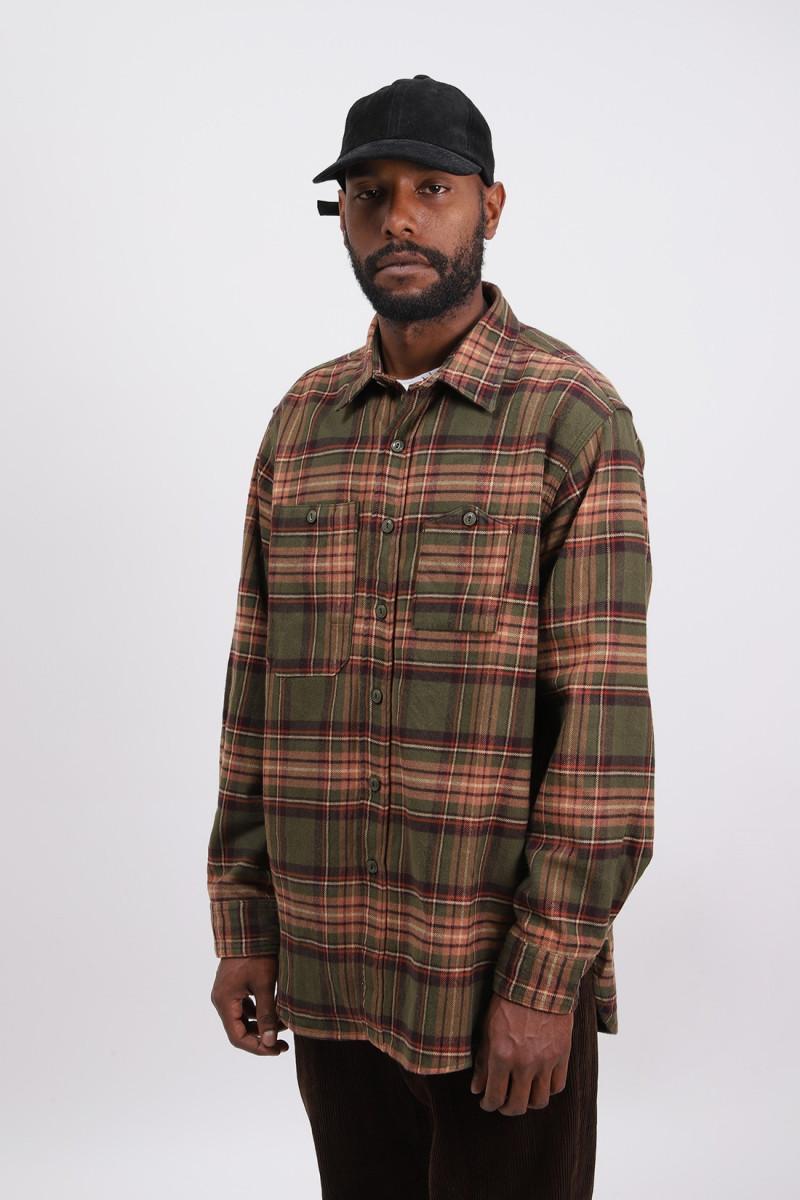 Work shirt cotton twill plaid Olive brown