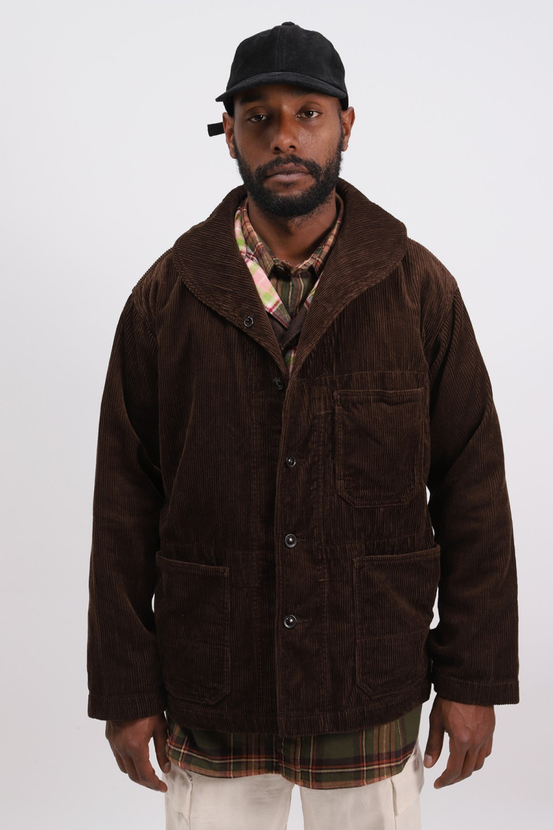 Shawl collar cover cord jacket Brown