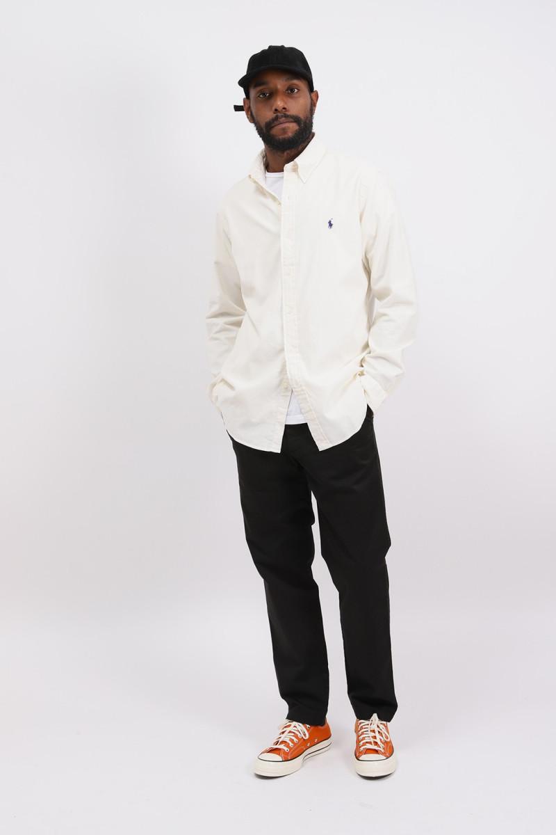 Custom fit fine cord shirt Cream