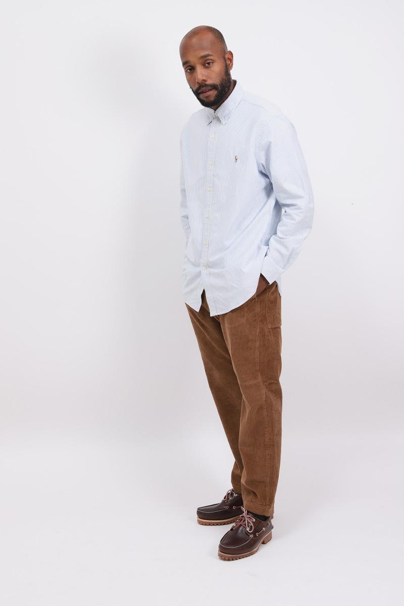 Custom fit oxford shirt Stripe blue