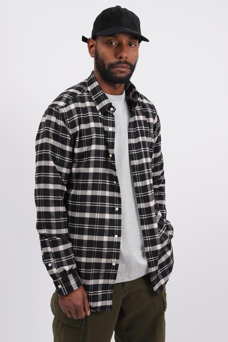 Custom fit flannel check shirt Black check