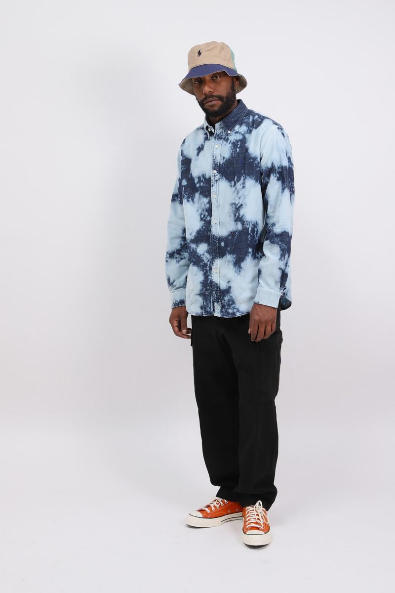 Custom fit fine cord shirt Tye dye blue