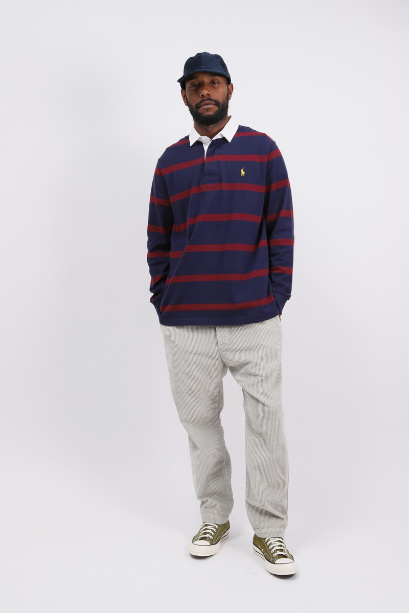 Custom slim fit l/s polo rugby Navy/wine