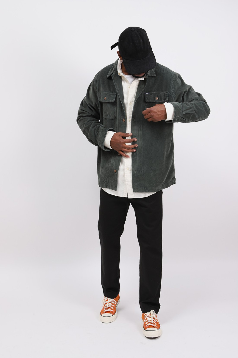Classic fit cord overshirt Green