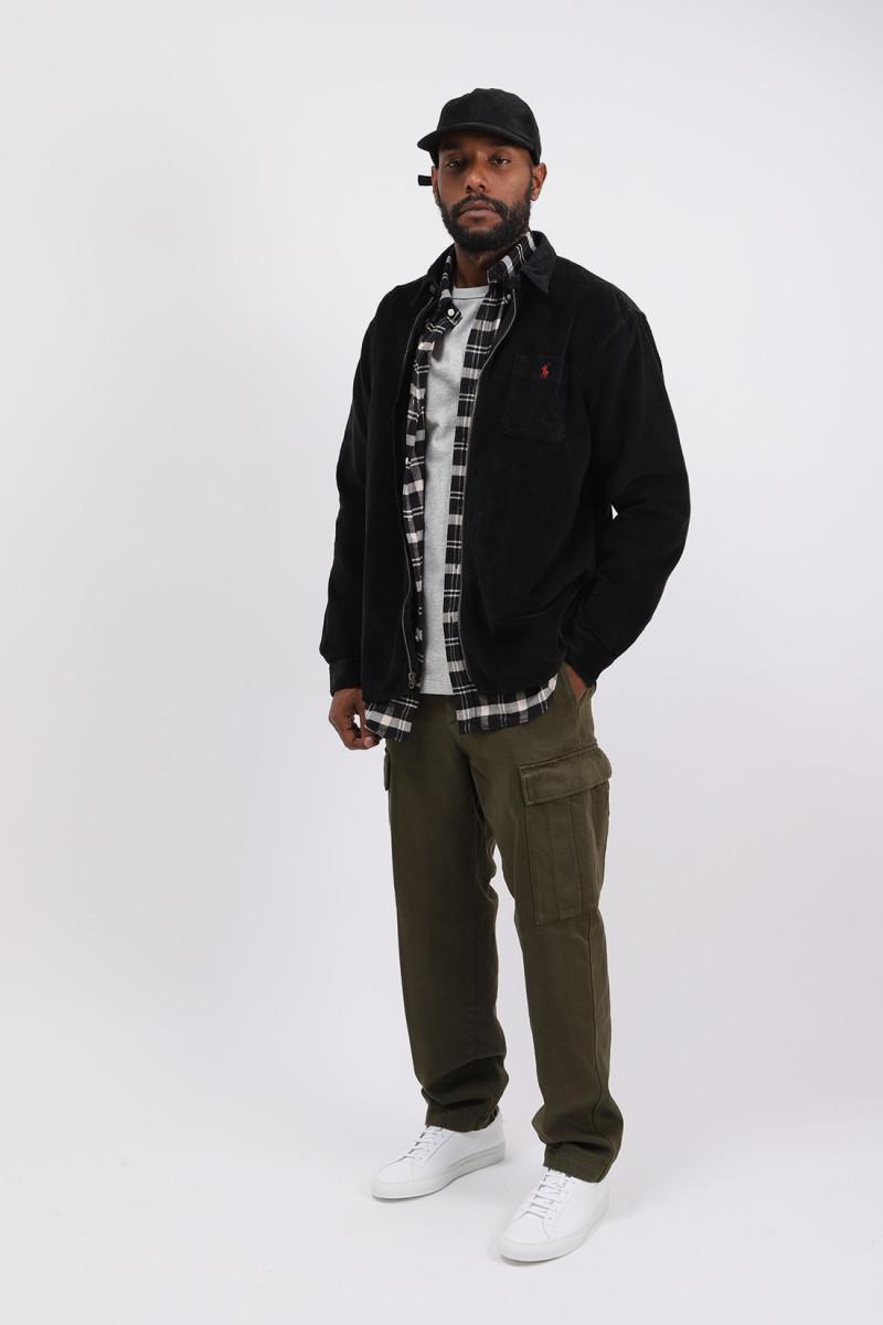 Classic fit cord zip jacket Black