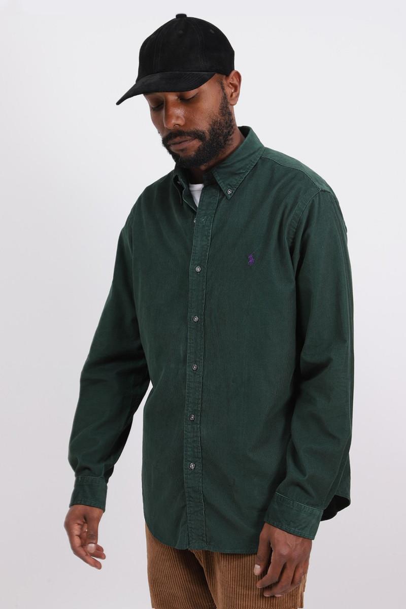 Custom fit fine cord shirt Green