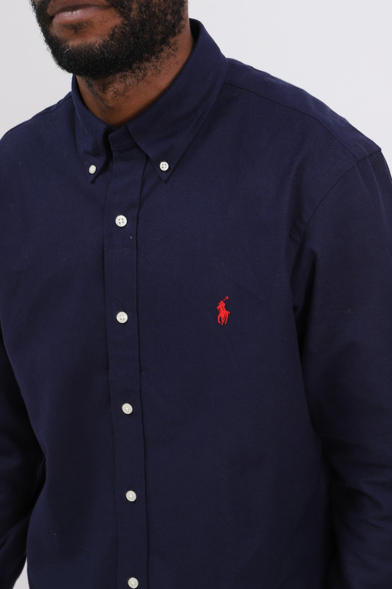 Custom fit flannel shirt Navy