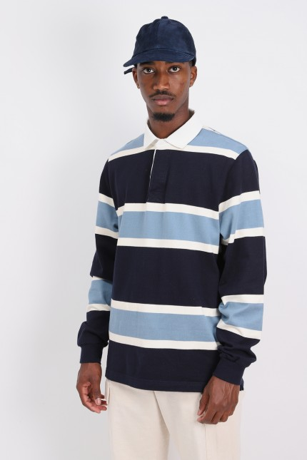 Pop striped rugby polo Navy/blue/offwhite
