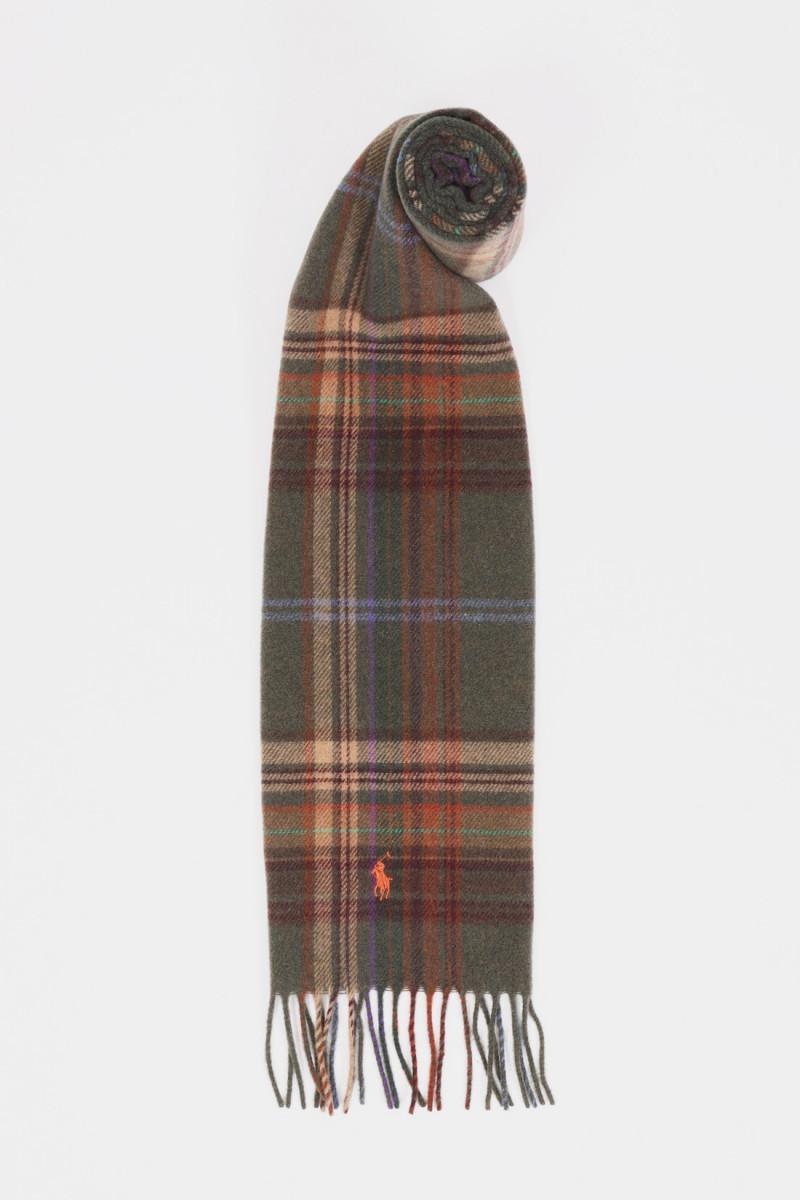 Tartan wool scarf Olive