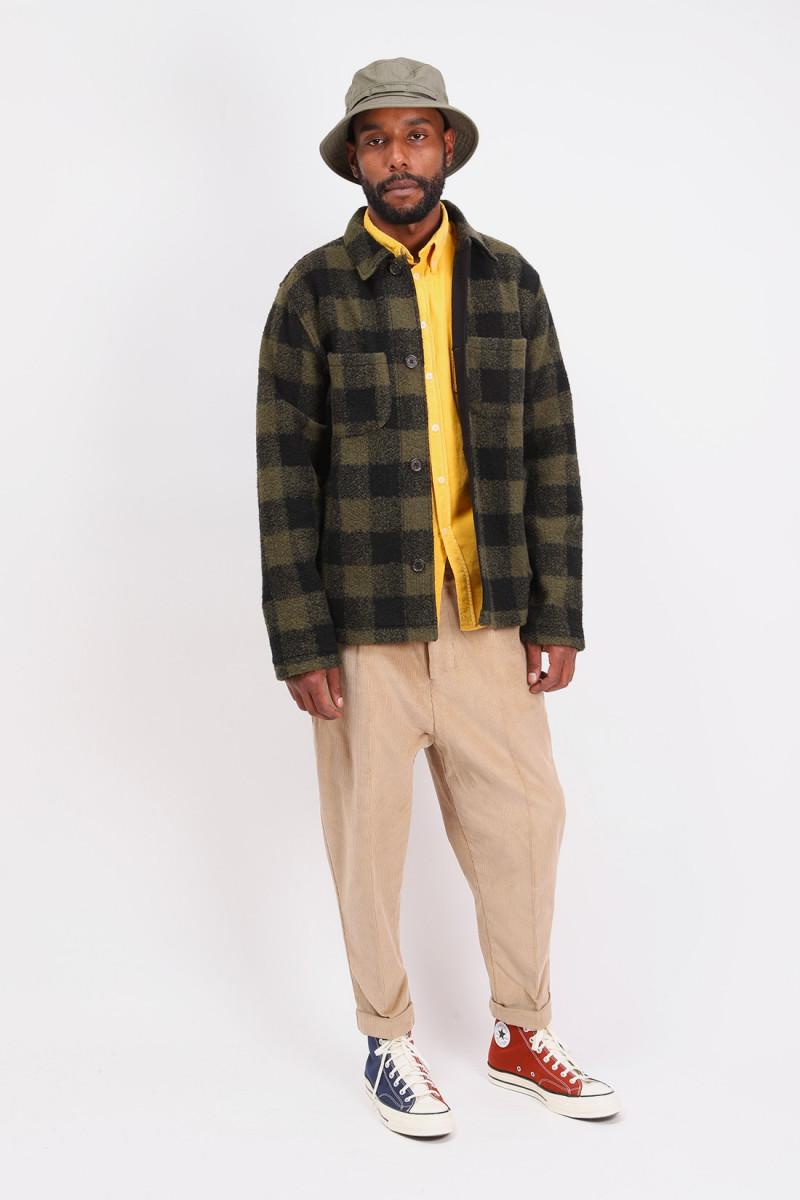 Lumber jacket check fleece Olive