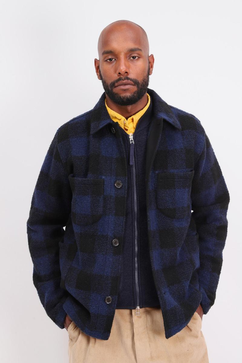 Lumber jacket check fleece Navy