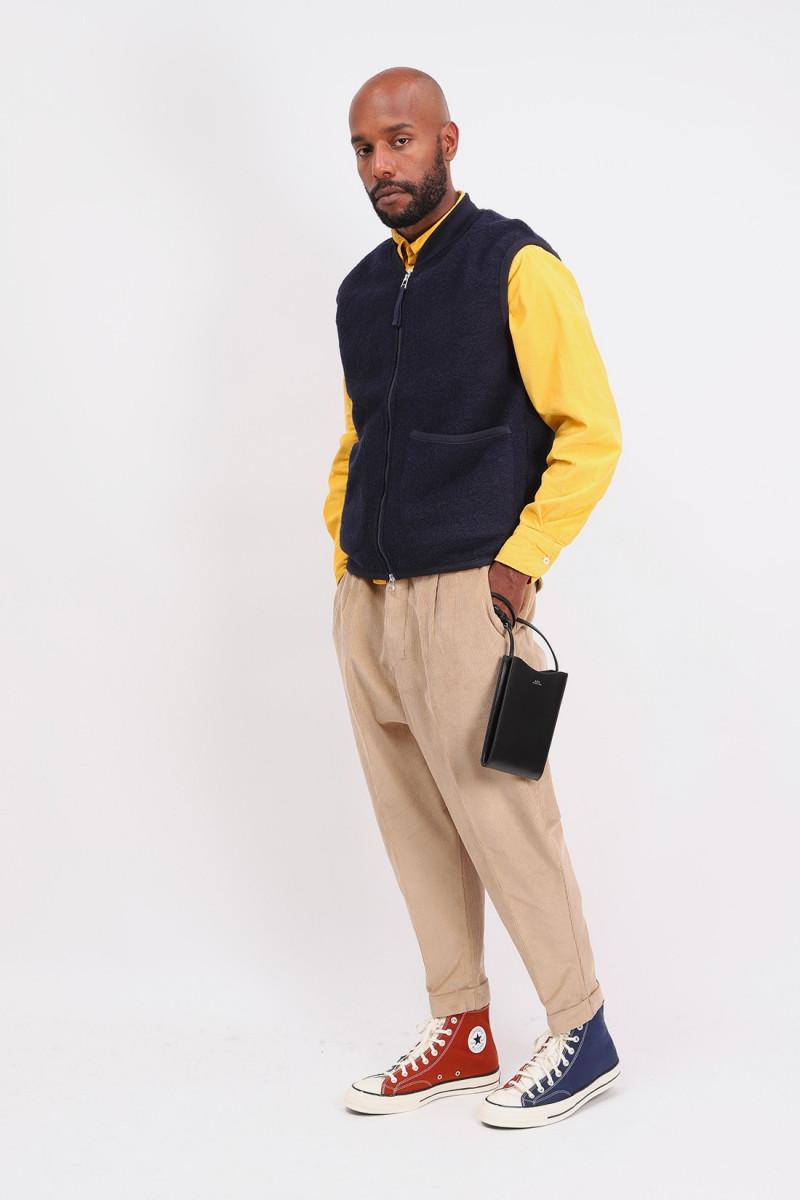 Zip waistcoat wool fleece Navy