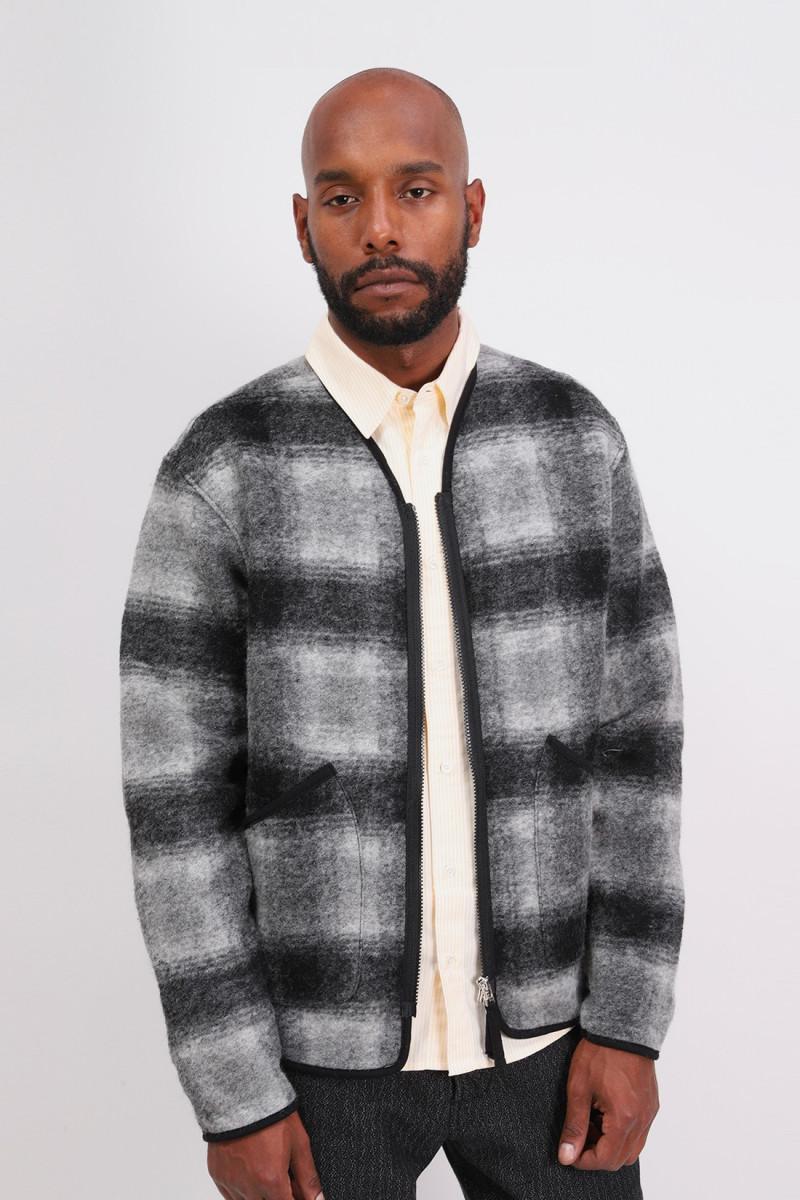 Zip liner jacket check Grey charcoal