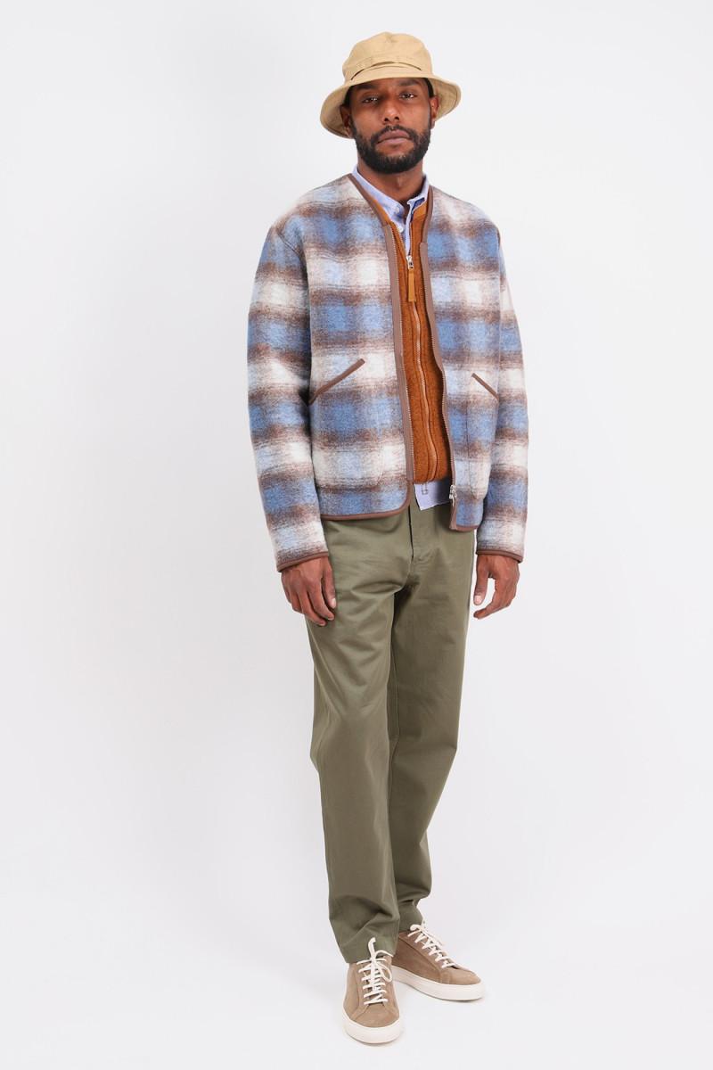 Zip liner jacket check Blue brown