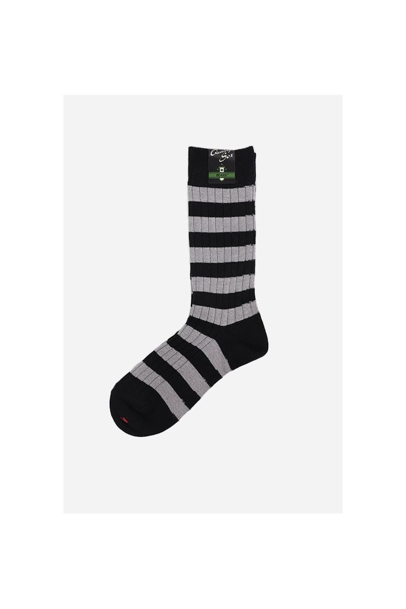 Rib stripe socks New navy