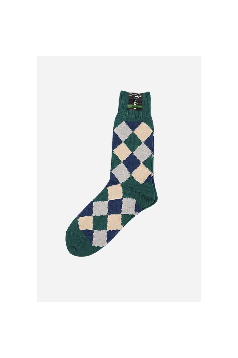Diamond pattern socks Green