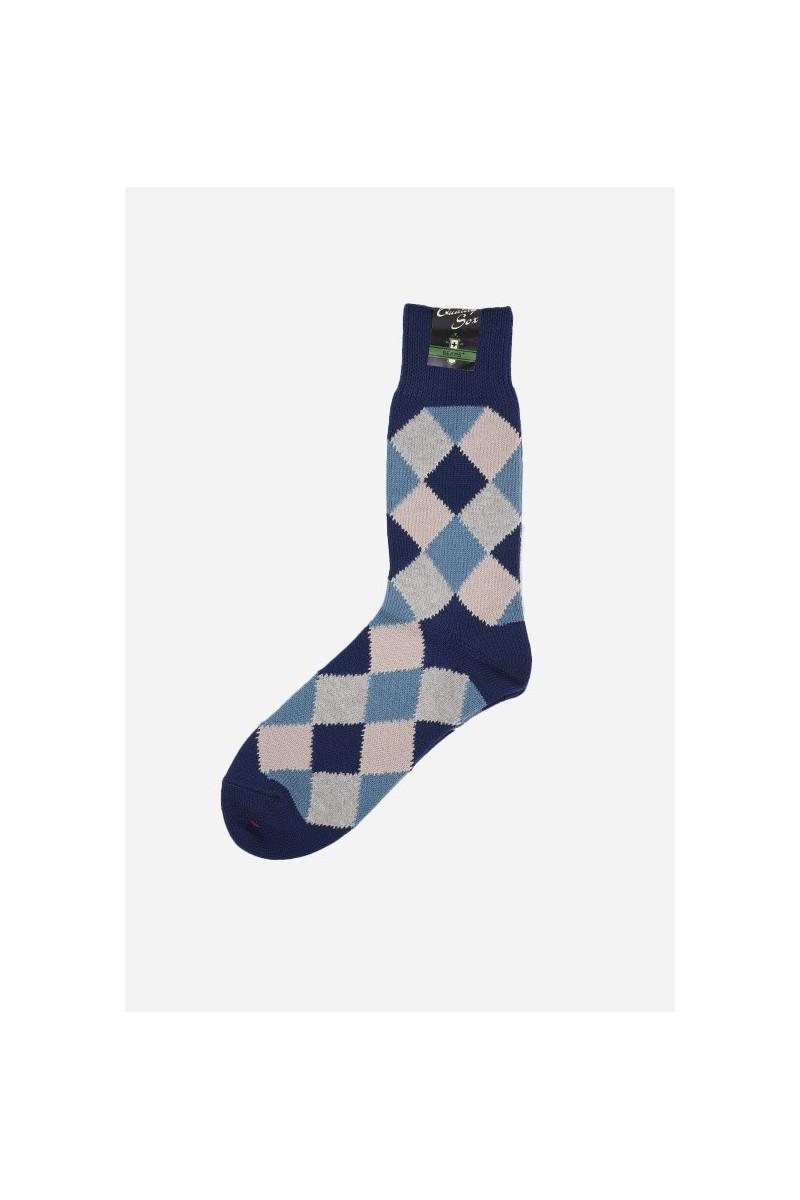 Diamond pattern socks Navy