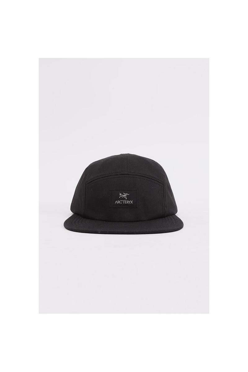 5 panel label cap Black